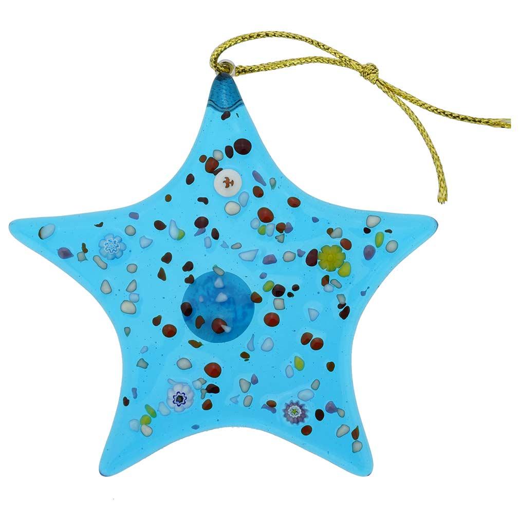 Murano Glass Star Christmas Ornament - Aqua