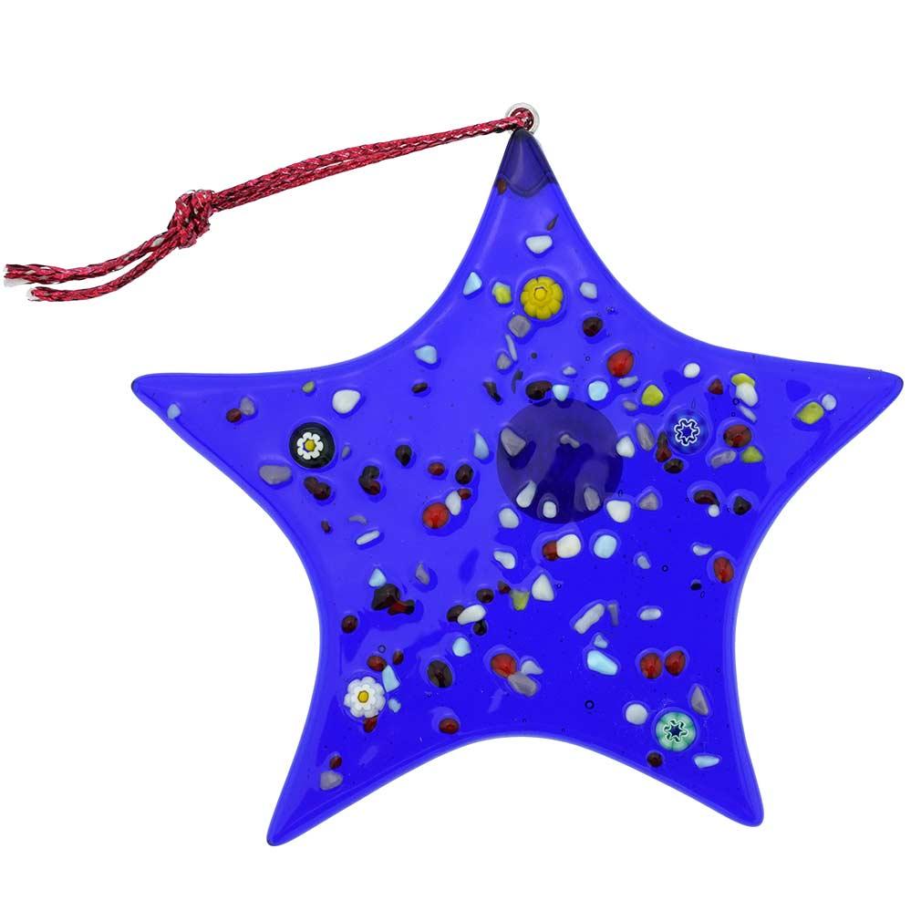 Murano Glass Star Christmas Ornament - Blue