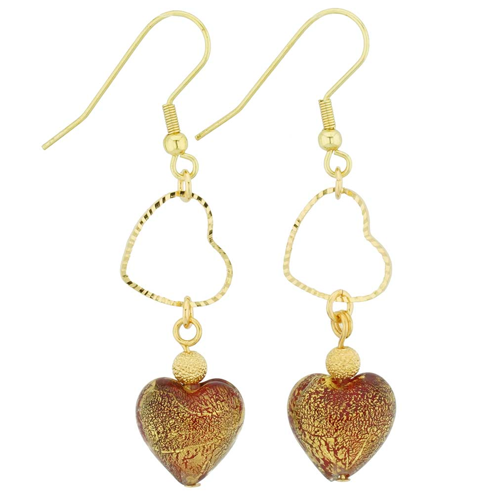 Ca D'Oro Venetian Heart earrings -red