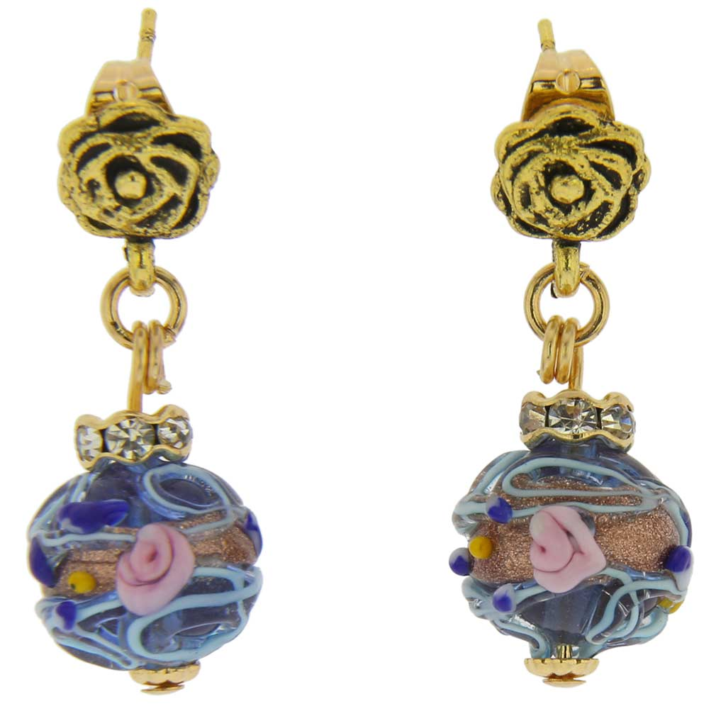 Magnifica antique stud balls earrings -cobalt blue