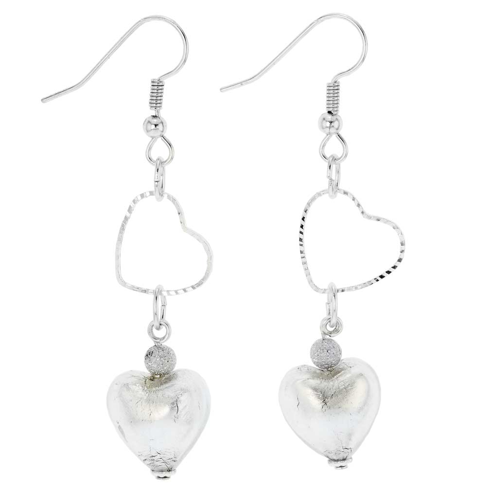 Venetian Wedding Heart earrings -silver ice