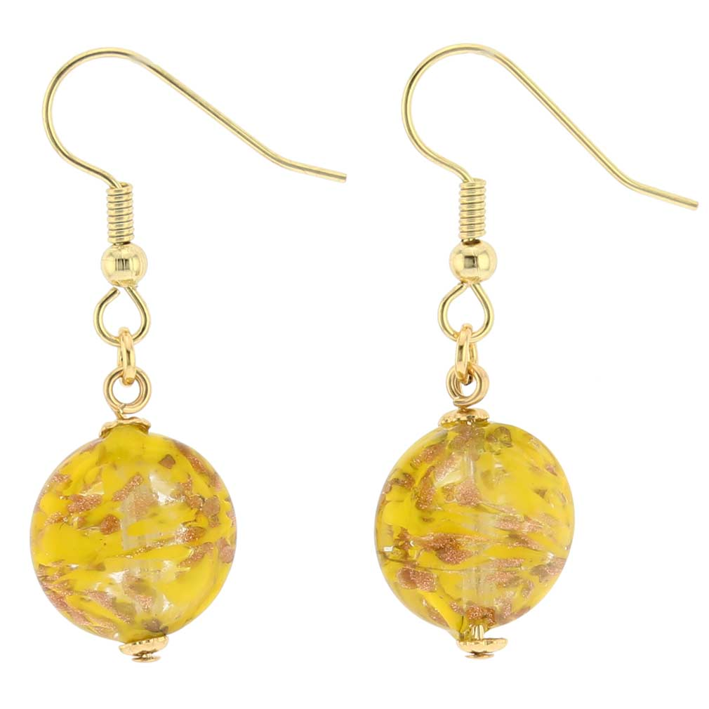 Starlight Disc earrings -mustard yellow