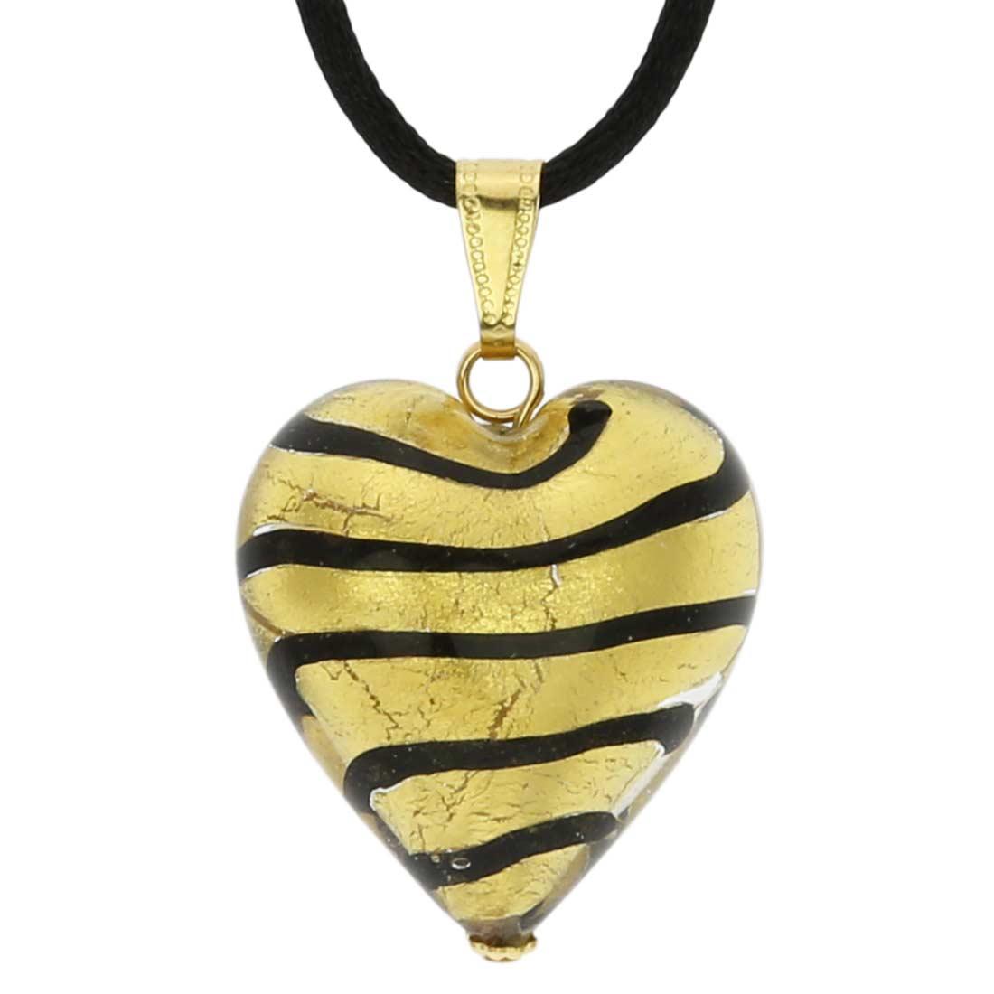 Murano Heart Pendant Gold
